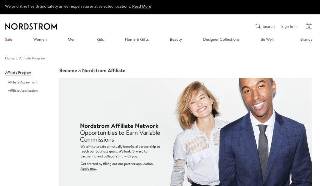 nordstrom affiliate program network signup screenshot