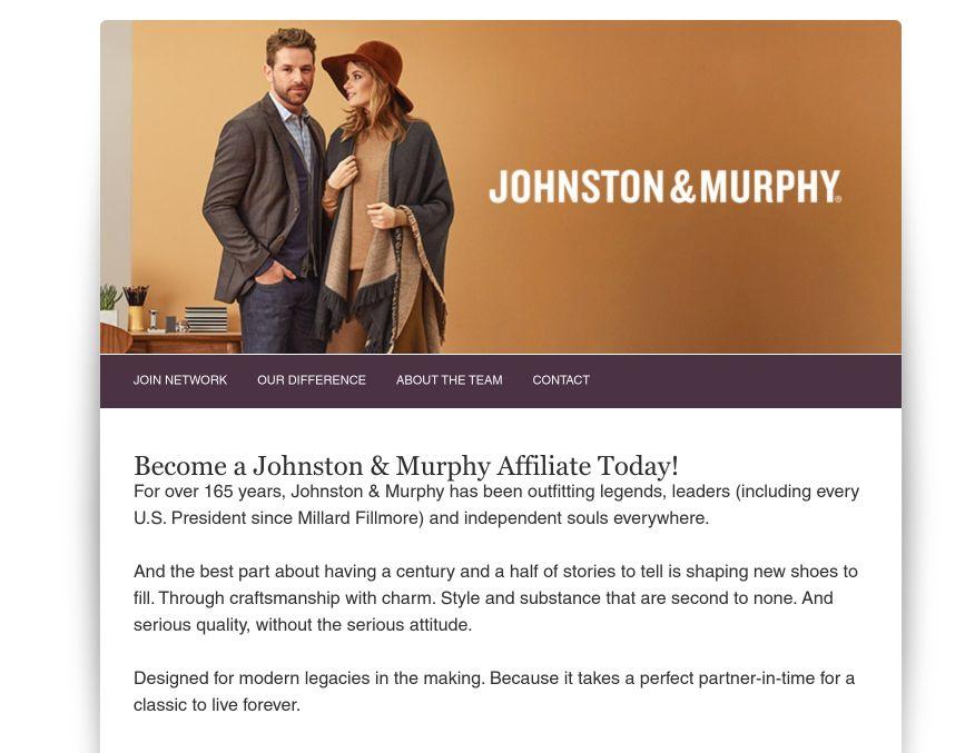 johnston and murphy affiliate signup screenshot