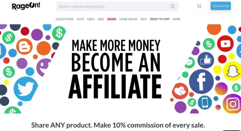 rageon make money affiliate signup screenshot