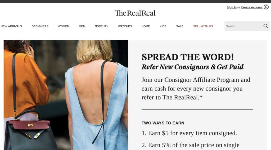 the realreal consignor affiliate signup screenshot