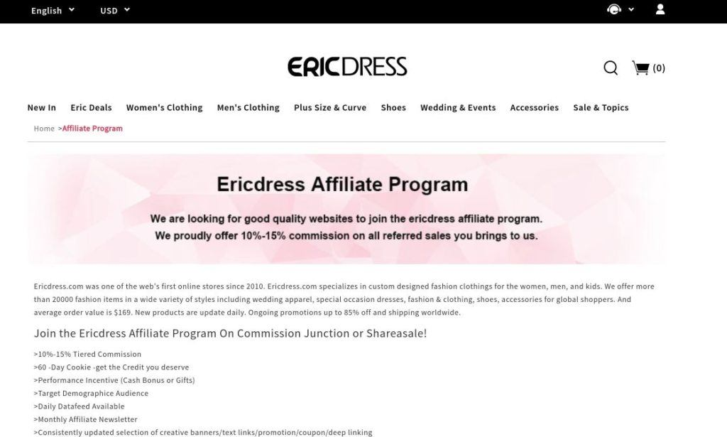 ericdress affiliate program screenshot signup