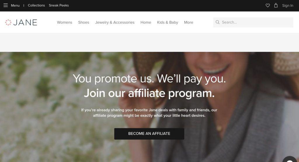 jane affiliate program signup screenshot