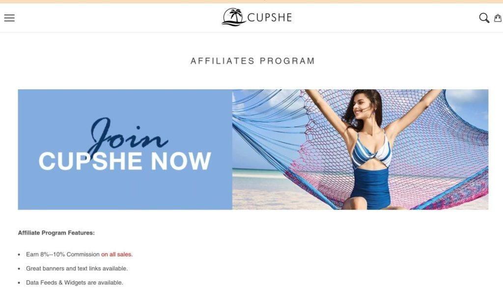 join cupshe affiliate program signup screenshot