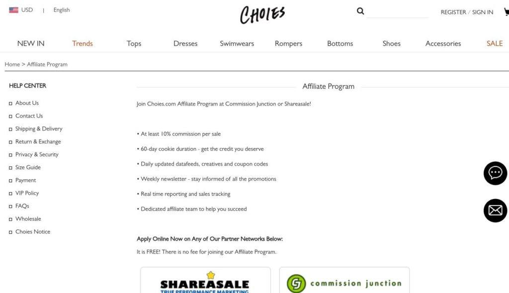 choies affiliate program screenshot