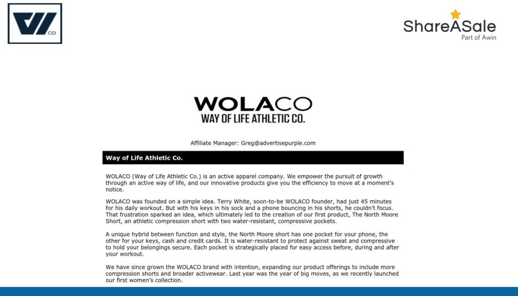 wolaco affiliate program screenshot signup