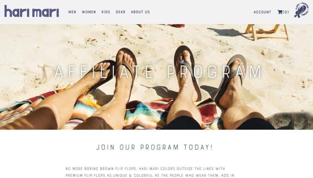 hari mari screenshot affiliate program signup
