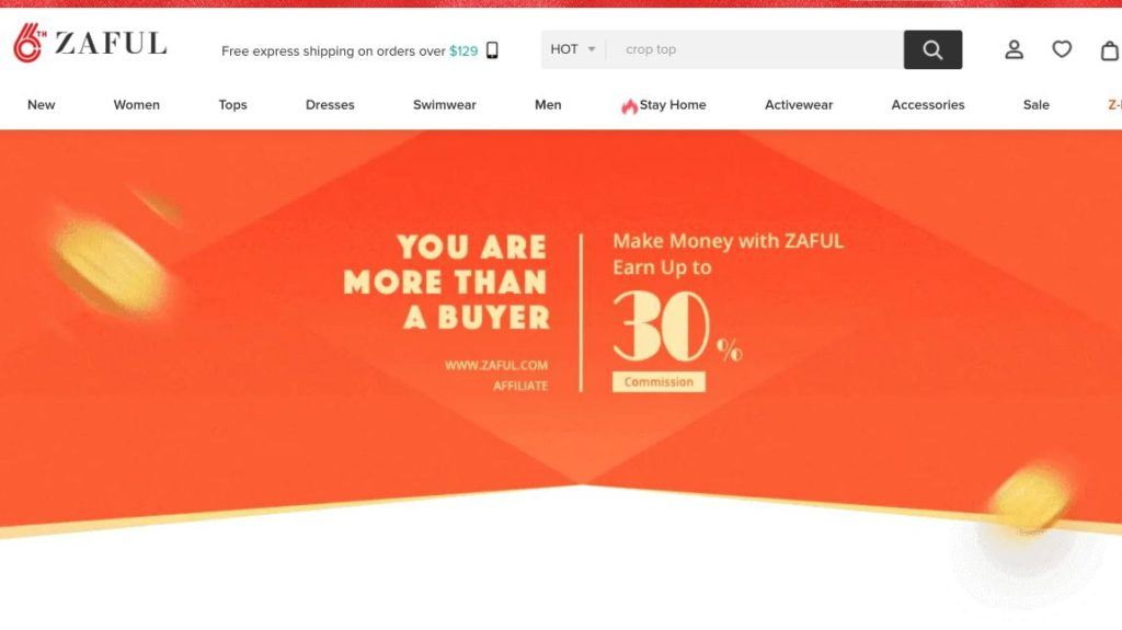 screenshot affiliate program zaful