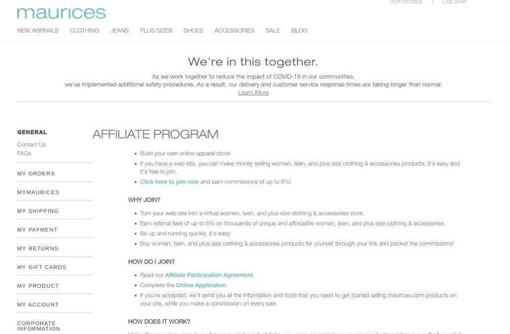 maurices screenshot affiliate signup