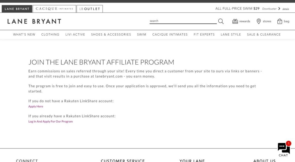 lane bryant affiliate program signup screenshot