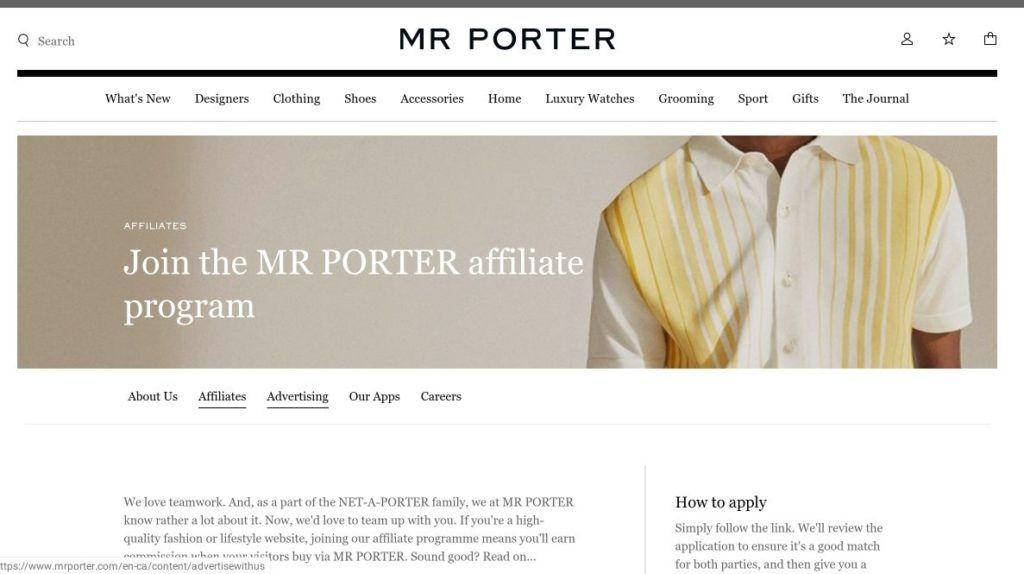 mr porter affiliate program screenshot