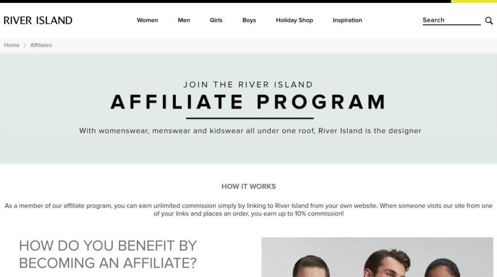 river island affiliate program signup screenshot