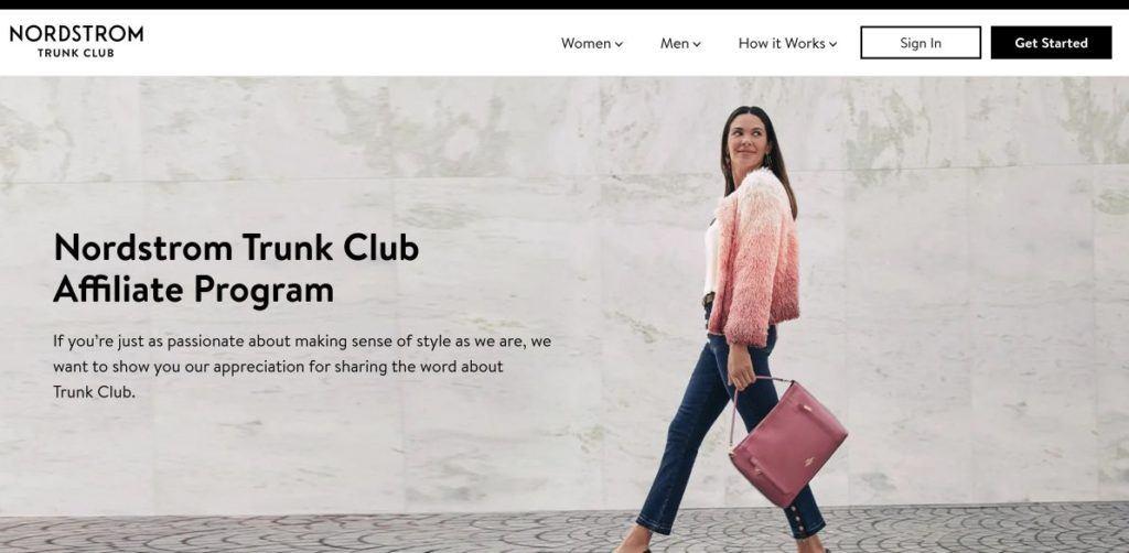 nordstrom trunk club affiliate program signup screenshot