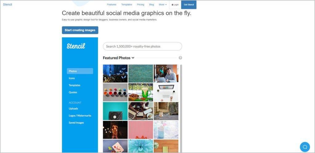 screenshot of Stencil web page