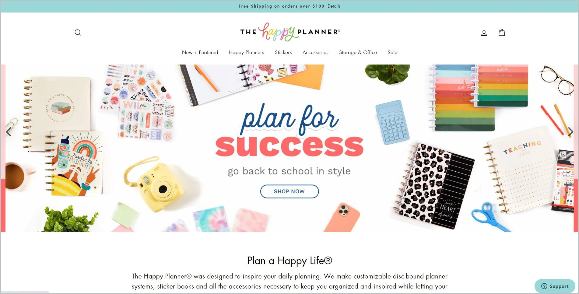 screenshot of The Happy Planner homepage, with light green announcement bar, white header with the website's name and main navigation menu, it showcases images of planners and planner accessories