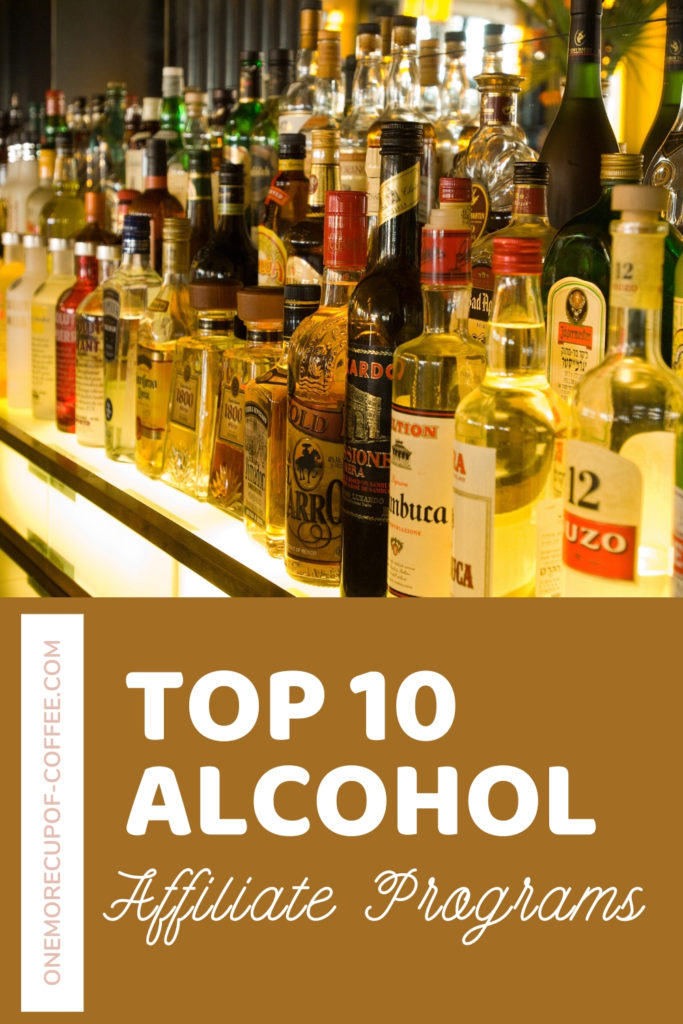 alcohol bar with selection of drinks and an overlay text