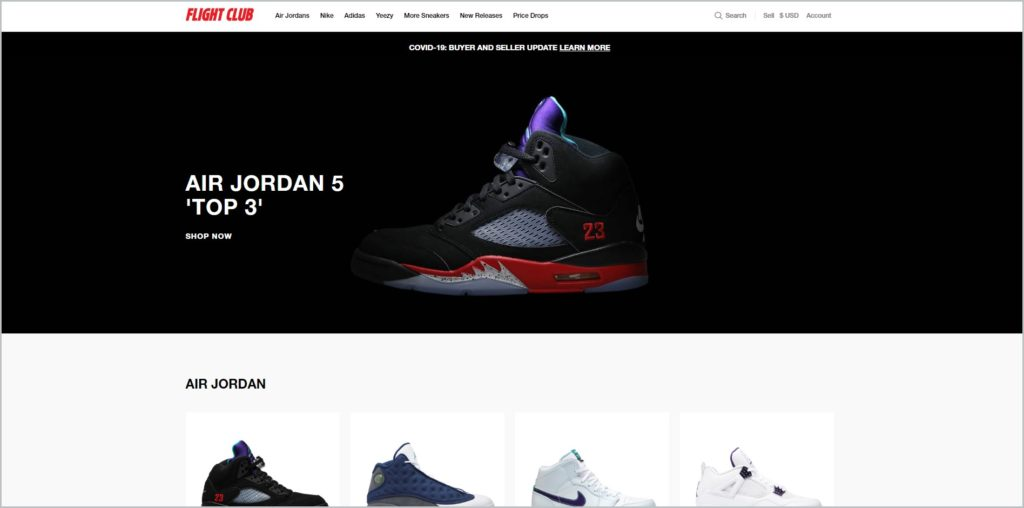 screenshot of flightclub.com website