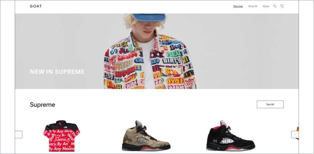 screenshot of goat.com website