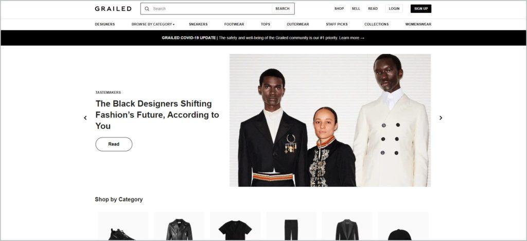 screenshot of grailed.com website