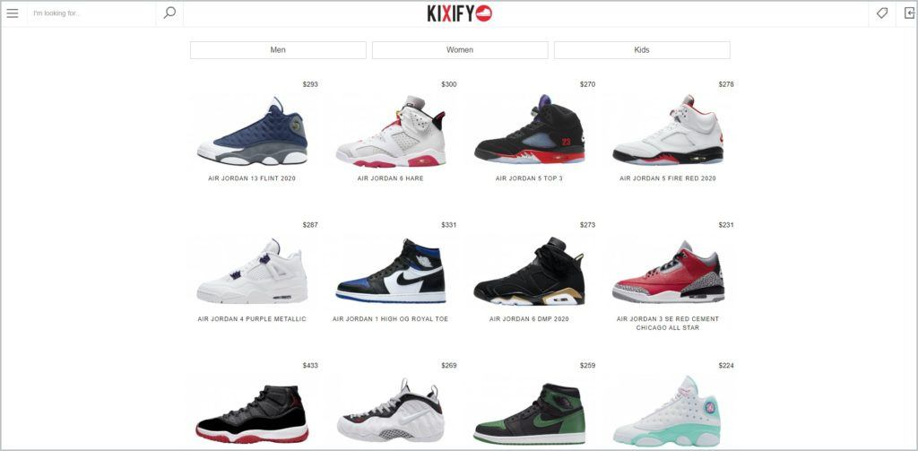 screenshot of kixify.com website