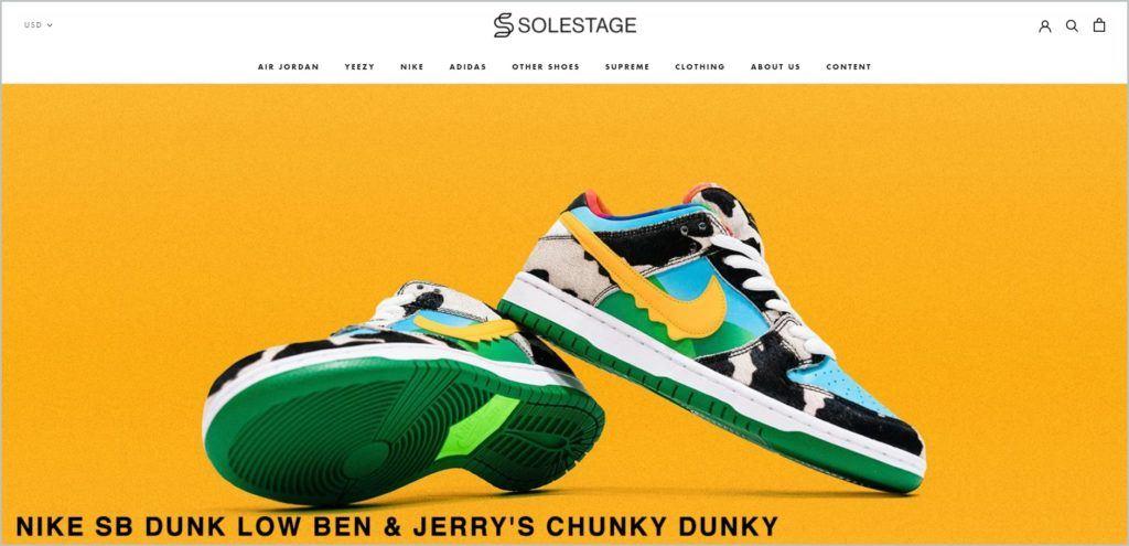 screenshot of solestage.com website