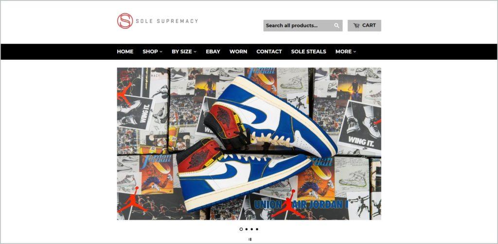 screenshot of solesupremacy.com website