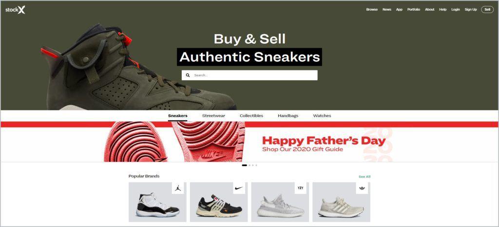 screenshot of stockx.com website