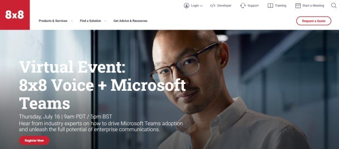 This screenshot of the home page for 8x8 has a red logo, a white navigation bar, and a large photo of a smiling man in a business shirt and glasses behind white text announcing a virtual event, along with a red call to action button.