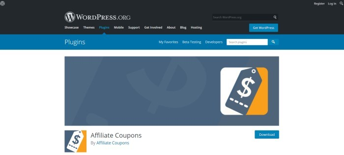 This screenshot of the home page for Affiliate Coupons has a black navigation bar, a blue secondary navigation bar, and a white background with graphics in slate blue, orange, and white announcing the Affiliate Coupons WordPress plugin.