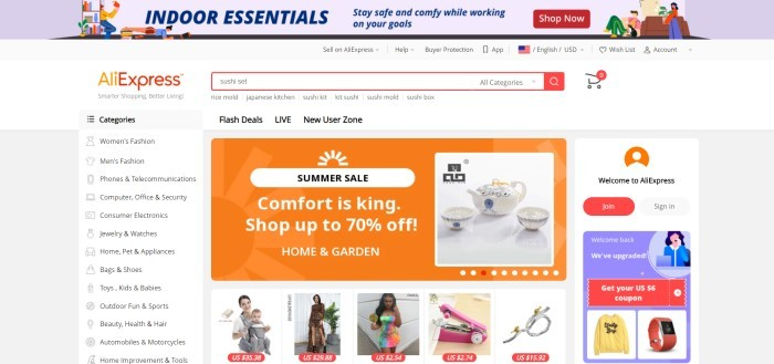 This screenshot of the home page of Ali Express has a multicolored shopping advertisement in the header above a white background in the main section, search bar, and navigation bar, with a column of categories on white and gray background with black text on the left side of the page, an orange and white advertisement in the center of the page above a row of small photos of products, and a graphics section in white, orange, red, and purple on the right side of the page inviting people to join Ali Express.