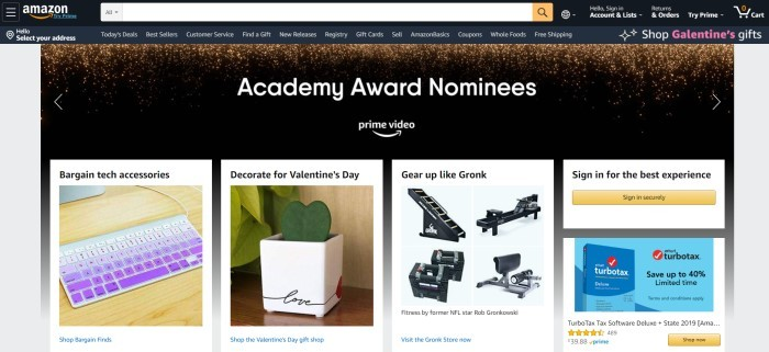This screenshot of the home page for Amazon.com has a black search bar and navigation bar above a dark banner announcing academy award nominees in Amazon Prime Video, along with a row of products including a purple keyboard, a potted plant, a home fitness machine, and box of tax software.