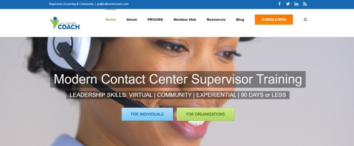 This screenshot of the home page for Call Center Coach has a blue header, a white navigation bar with an orange call to action button, and a large photo of a smiling woman with dark eyes and dark hair, wearing a headset, behind white text and two call to action buttons in blue and green.