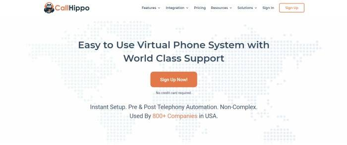 This screenshot of the home page for CallHippo has a white navigation bar, a main section with a white background and gray dots forming the shapes of Earth's continents, black text centered in the main section, and an orange call to action button.