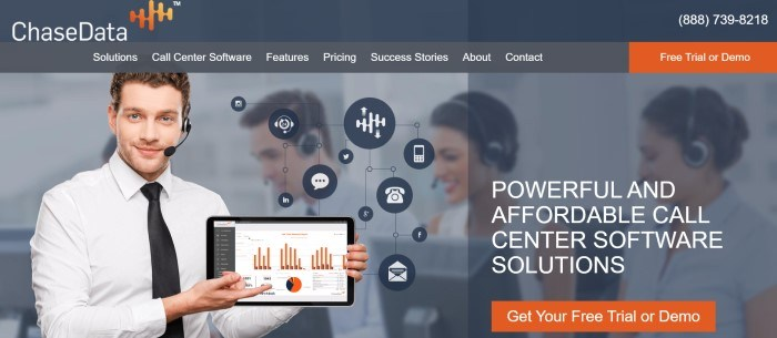 This screenshot of the home page for Chase Data has a dark header with a white and orange logo, a gray navigation bar with white text and an orange call to action button, and a large photo of a smiling man in a headset and a white shirt with a black tie showing the screen of a computer with graphs in orange on it, in front of a row of smiling people in headsets and behind white text with another orange call to action button.