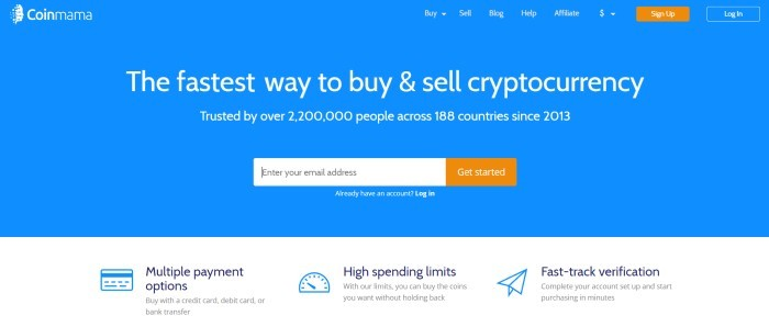 This screenshot of the home page for Coinmama has a blue background with white text, a search bar, and two orange call-to-action buttons.