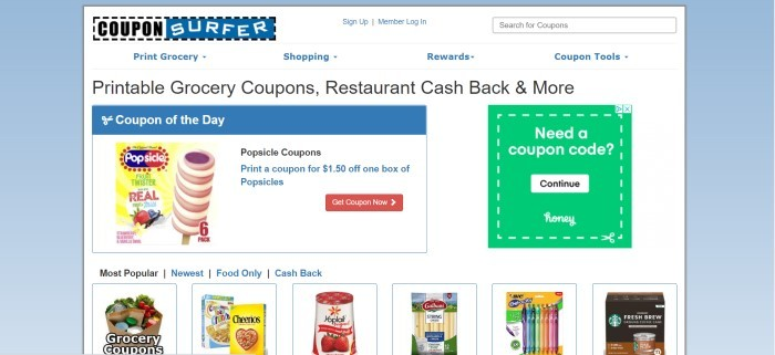 This screenshot of the home page for CouponSurfer has a pale blue background behind a white main section with several small product deal photos, including popsicles, Cheerios, Yoplait yogurt, and string cheese, along with a green and white text section inviting customers to get a coupon code.