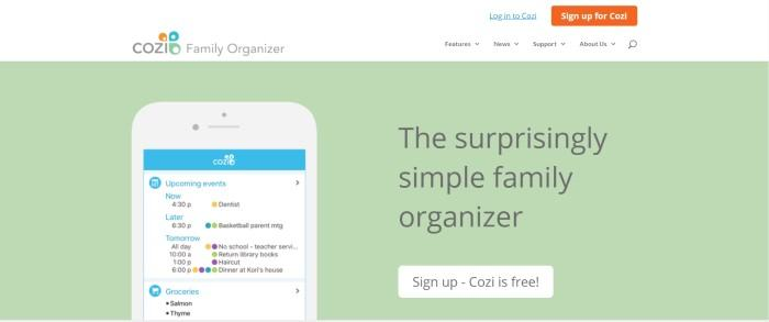 This screenshot of the home page for Cozi Family Organizer has a white header and navigation bar with an orange call to action button above a pale green section showing the cozi app opened on a cell phone next to black test announcing the simple family organizer, above a white call to action button.