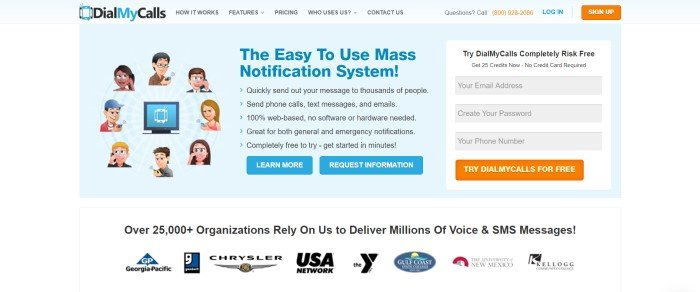 This screenshot of the home page for DialMyCalls has a light blue navigation bar and background with graphics depicting people using the service on the left side of the page, text in blue and black in the center of the page, and an opt-in window for the free trial on the right side of the page, along with two blue and two orange call to action buttons.
