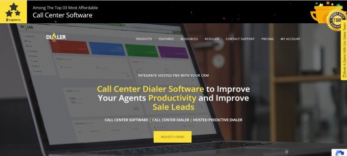 This screenshot for the home page of Dialer 360 has a black and yellow header above a photo of a computer screen, with a transparent navigation bar containing white text, and text in white and yellow in the center of the page, along with a yellow call to action button.