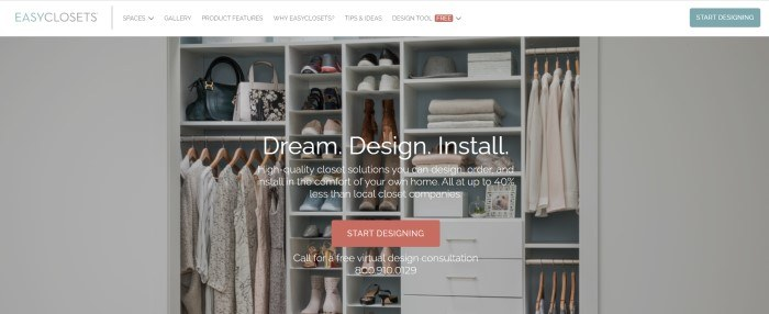 This screenshot of the home page for Easy Closets has a white navigation bar above a photo of a well-organized closet utilizing several white shelves, behind white text and a red call to action button.