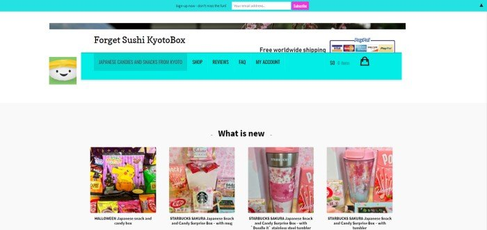 This screenshot of the home page for Forget Sushi Kyoto Box has an aqua opt-in bar, a white background, an aqua navigation bar, and a row of photos showing colorful products that are included in the boxes.