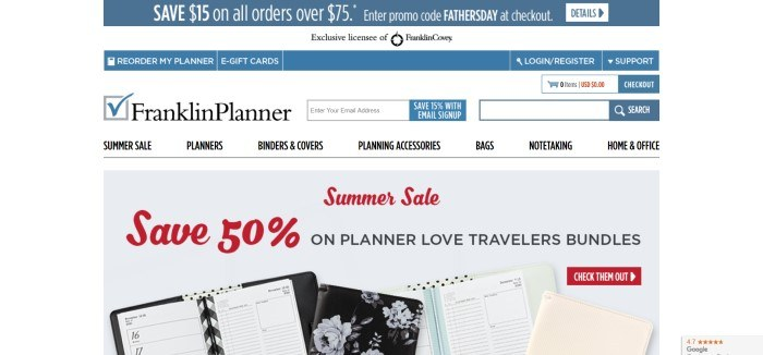 This screenshot of the home page for Franklin Planner has a blue and white header with white and black text above an overhead photo showing several types of open planners and organizers in black, aqua, and beige lying on a table, along with red and black text announcing a summer sale.