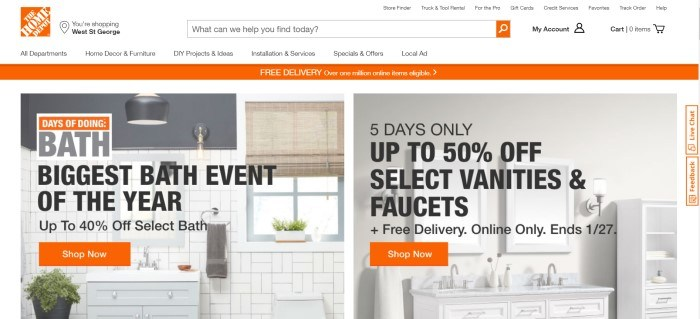 This screenshot of the home page for The Home Depot has a white navigation bar with orange elements and an orange logo above a divided main section, with the left side of the page showing an image of a white-tiled bathroom with bamboo blinds in the window and the right side of the page showing an all-white kitchen, along with black text on both sides of the page describing the current sales.