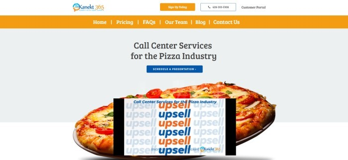This screenshot of the home page for Kanect 360 has a white header with an orange call to action button, an orange navigation bar, and a pale gray main section with black text, a blue call to action button, and a photo of a pizza behind a YouTube video insert showing the word 'Upsell' in orange and blue.