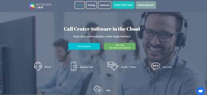 This screenshot of the home page for Nectar Desk has a gray navigation bar with teal call to action buttons, a gray filtered main section showing a group of smiling call center employees in headsets, behind white text, two call to action buttons in teal and green, and a row of white icons with white text telling what they represent.