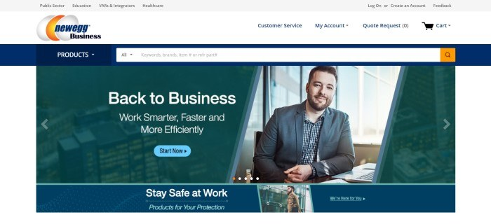 This screenshot of the home page for Newegg Business has a gray and white header and navigation bar above a dark blue search bar and a photo of a smiling bearded business man in an office setting sitting in front of a window, along with a dark filtered photo of a city scape with white text and a blue call to action button.