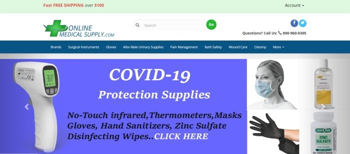 This screenshot of the home page for Online Medical Supply has a green header, a white search bar, a blue navigation bar with white lettering, a blue announcement section with a photo of a thermometer gun and text in white and black on the left side of the page, and a photo of a woman in a surgical mask and a photo of two hands in black latex gloves on the right side of the page.