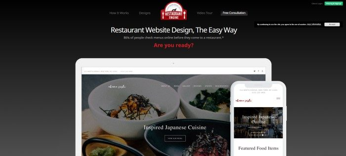 This screenshot of the home page for Restaurant Engine has a black background, a logo in red, white, and gray, text in white and red, and screen frames for a laptop and a mobile phone showing web home pages for a sushi restaurant.