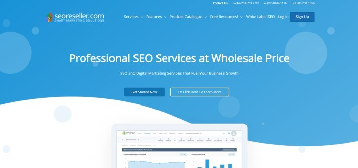 This screenshot of the home page for SEOReseller has a blue and white background, white text, a colorful logo, and two dark blue all to action buttons, as well as a graphic near the bottom of the page showing a mobile device with a chart from SEOReseller on the screen.