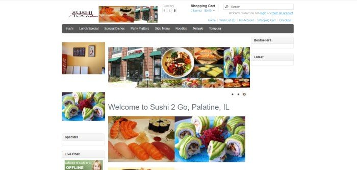 This screenshot of the home page for Sushi To Go has a white background, a search bar in the upper right corner, a gray navigation bar and white text, along with several small pictures of sushi and a photo of the storefront for Sushi To Go.