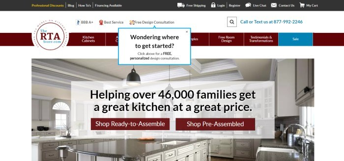 The RTA Store has a dark header with white text, a white background, a maroon navigation bar, and a photo of a kitchen with white cabinets, behind two maroon call-to-action buttons and a white text section with black lettering.